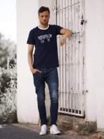 Granatowy t-shirt męski z napisami BROOKLYN NEW YORK SPIRIT 86                                  zdj.                                  6