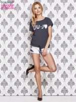 Granatowy t-shirt w drobne groszki z napisem LIU J❤                                                                          zdj.                                                                         2