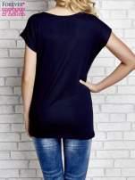 Granatowy t-shirt z napisem YOU ARE STAR IN MY HEART z dżetami                                  zdj.                                  2