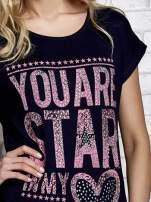 Granatowy t-shirt z napisem YOU ARE STAR IN MY HEART z dżetami                                                                          zdj.                                                                         5
