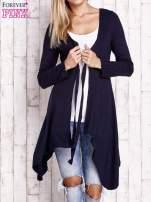 Granatowy wiązany asymetryczny sweter                                  zdj.                                  5