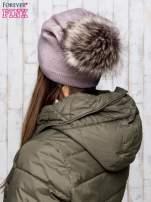 Jasnobrązowa czapka glitter z pomponem                                  zdj.                                  3