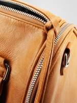 Jasnobrązowa torba bowling z suwakami