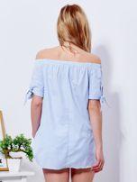 Jasnoniebieska bluzka hiszpanka w paski z perełkami                                  zdj.                                  2
