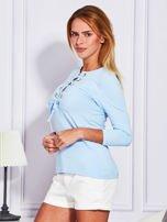 Jasnoniebieska bluzka lace up                                  zdj.                                  5