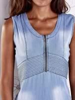 Jasnoniebieska denimowa sukienka z suwakiem                                  zdj.                                  6
