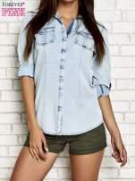 Jasnoniebieska jeansowa koszula z podwijanymi rękawami                                  zdj.                                  1