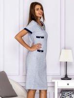 Jasnoniebieska sukienka z kieszeniami                                  zdj.                                  3