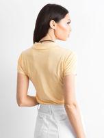 Jasnopomarańczowa koszulka polo w kwiaty                                  zdj.                                  2