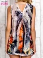 Jasnoróżowa bluzka koszulowa w malarskie desenie                                  zdj.                                  5
