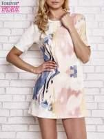 Jasnoróżowa malowana sukienka mini                                                                          zdj.                                                                         1
