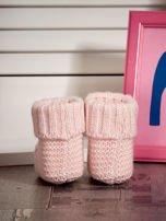 Jasnoróżowe buciki dziewczęce z kwiatuszkami                                  zdj.                                  2