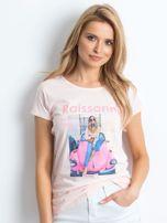 Jasnoróżowy t-shirt Invariably                                  zdj.                                  3