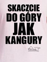 Jasnoróżowy t-shirt damski SKACZCIE DO GÓRY JAK KANGURY by Markus P                                  zdj.                                  2