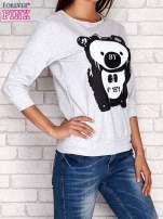 Jasnoszara bluza z nadrukiem pandy