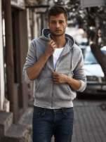 Jasnoszara gruba bluza męska z kapturem i kieszeniami                                  zdj.                                  1