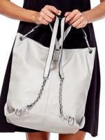 Jasnoszara torba-plecak z odpinanymi szelkami                                  zdj.                                  3