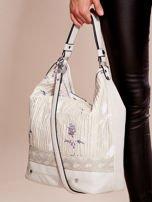Jasnoszara torba z łączonych materiałów w stylu japońskim                                  zdj.                                  5