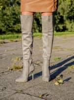 Jasnoszare zamszowe kozaki faux suede na szpilkach za kolano                                  zdj.                                  4