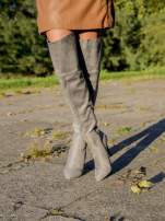 Jasnoszare zamszowe kozaki na szpilkach za kolano                                                                          zdj.                                                                         2