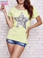 Jasnozielony t-shirt z gwiazdą z cekinów                                  zdj.                                  1