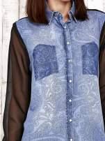 Jeansowa koszula z tiulowymi rękawami                                                                          zdj.                                                                         5