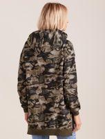 Khaki asymetryczna bluza moro z kapturem                                  zdj.                                  2