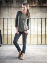 Khaki bluza z koronkowymi aplikacjami                                  zdj.                                  9