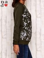 Khaki bluza z kwiatowym nadrukiem                                                                          zdj.                                                                         4