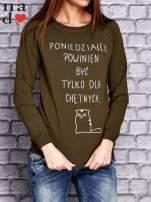 Khaki bluza z napisem PONIEDZIAŁEK POWINIEN BYĆ TYLKO DLA CHĘTNYCH                                  zdj.                                  1