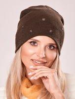 Khaki czapka z metalowymi dżetami                                  zdj.                                  1