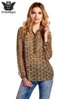 Khaki koszula mgiełka w geometryczne wzory                                  zdj.                                  1