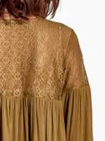 Khaki koszula z koronkową górą w stylu boho