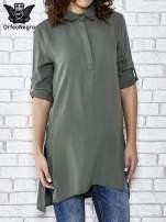 Khaki koszulotunika z rozcięciami