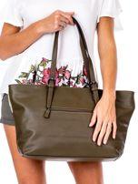 b6047e6a88818 Khaki torba shopper z materiałową wstawką - Akcesoria torba - sklep ...
