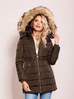Khaki zimowa kurtka z kapturem                                  zdj.                                  5