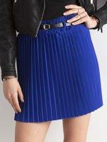 Kobaltowa plisowana spódnica z paskiem                                  zdj.                                  1