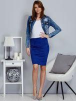 Kobaltowa spódnica z imitacji zamszu                                  zdj.                                  4