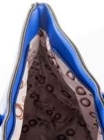 Kobaltowa torba shopper efekt saffiano                                  zdj.                                  10