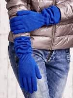 Kobaltowe długie rękawiczki z marszczonym ściągaczem                                   zdj.                                  3