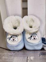 Komplet ocieplanych bucików dziecięcych ecru-jasnoniebieski                                  zdj.                                  2