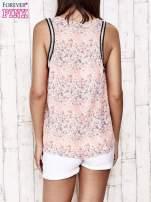 Koralowa bluzka koszulowa w łączkę                                  zdj.                                  5