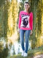 Koralowa bluzka z napisem CRAZY i nadrukiem fashionistek                                  zdj.                                  10