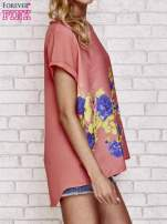 Koralowa koszula z motywem kwiatów                                                                          zdj.                                                                         3