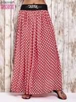 Koralowa spódnica maxi w grochy z ozdobnym pasem                                                                          zdj.                                                                         1