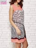 Koralowa sukienka boho z paskiem z frędzlami                                                                          zdj.                                                                         3