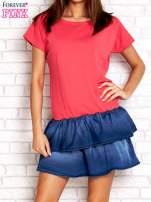 Koralowa sukienka dresowa z jeansowym dołem                                  zdj.                                  1