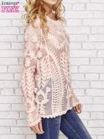 Koralowy ażurowy sweterek mgiełka                                                                          zdj.                                                                         3
