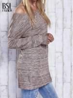 Koralowy melanżowy sweter z łezką na plecach                                                                          zdj.                                                                         4