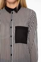 Koszula mgiełka w paski z kontrastową kieszonką, mankietami i kołnierzykiem                                  zdj.                                  9